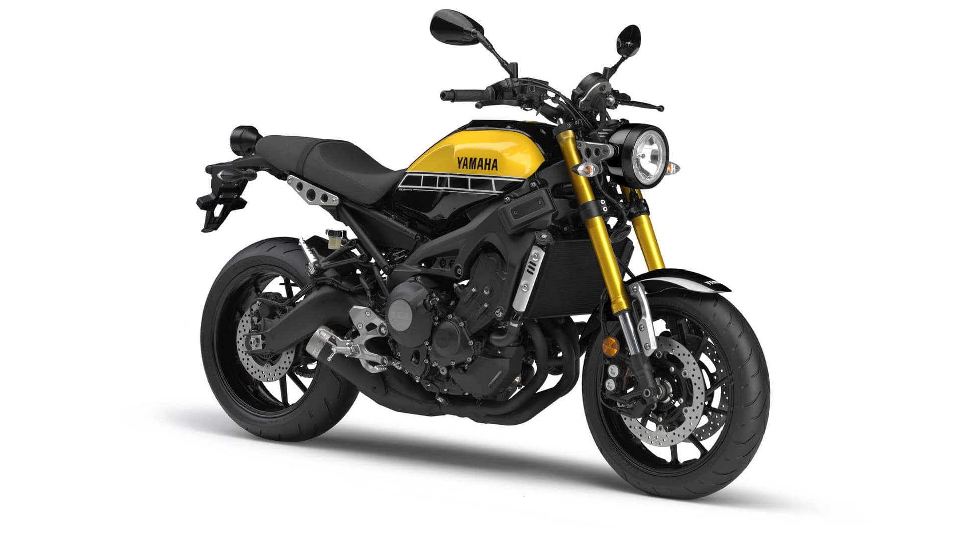 2016 Yamaha XSR900 in 60th Anniversary yellow and black colour scheme.