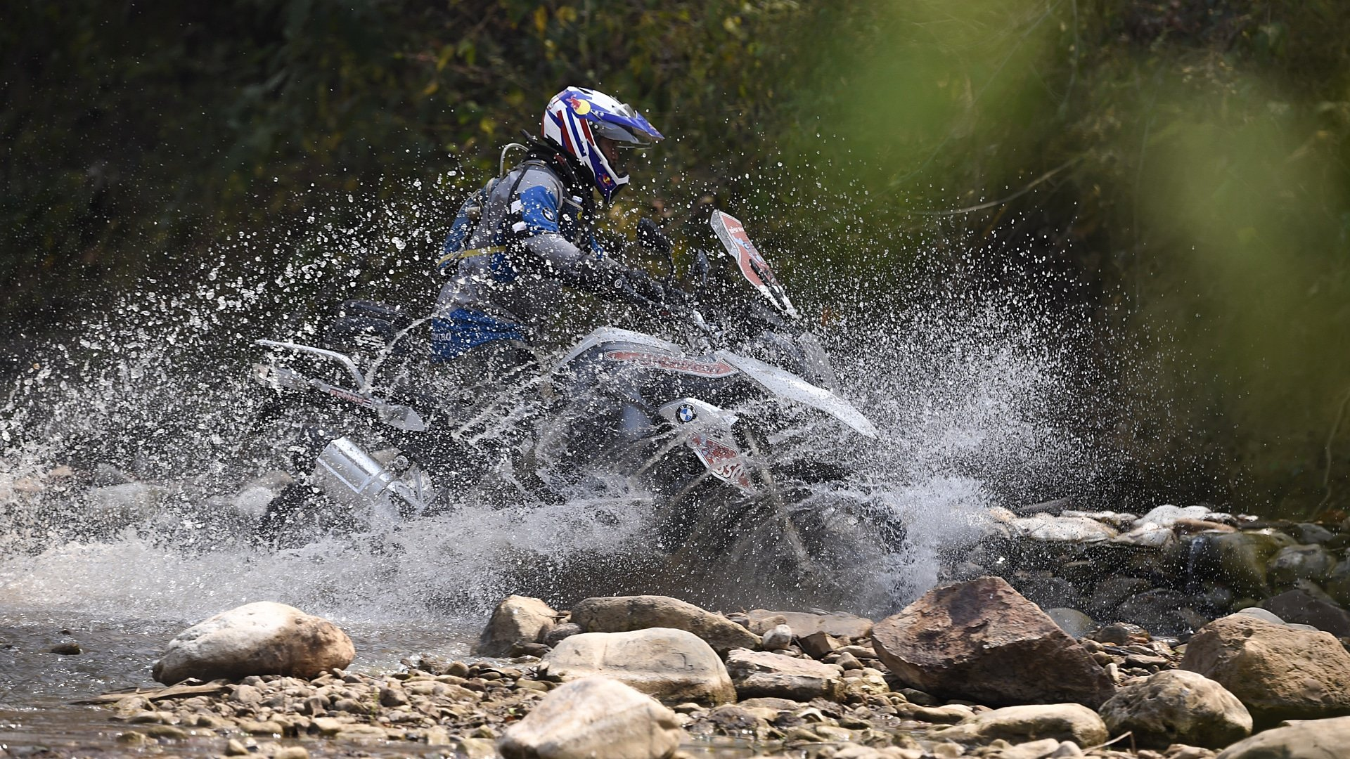 Water crossing during the 2016 BMW Motorrad International GS Trophy.
