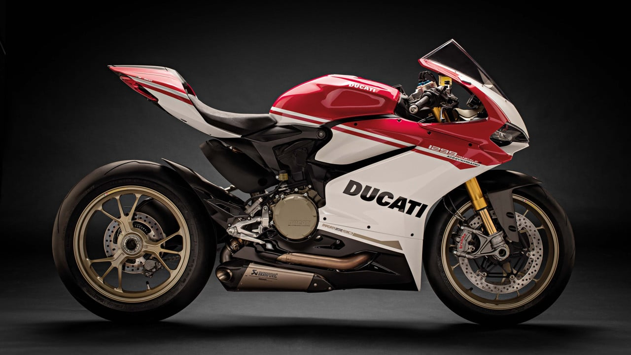 The 1299 Panigale S Anniversario has been built to celebrate Ducati's 90th anniversary.