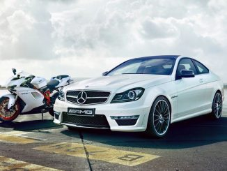 mercedes-amg and motorcycle